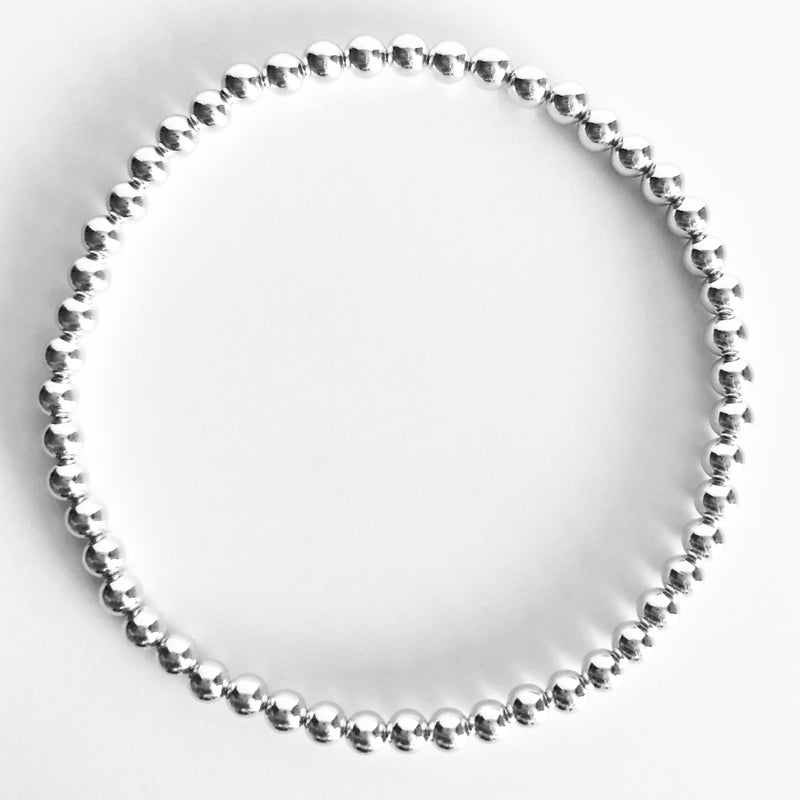 4mm Classic Beaded Sterling Silver Bracelet