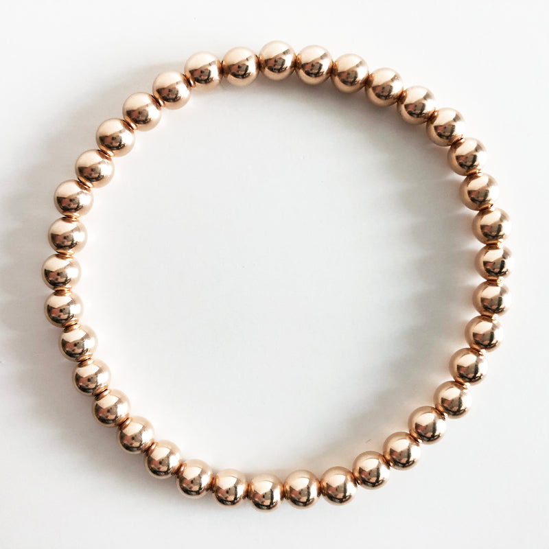 5mm Classic Beaded 14K Rose Gold-Filled Bracelet