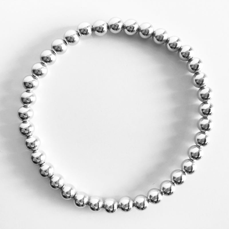 5mm Classic Beaded Sterling Silver Bracelet