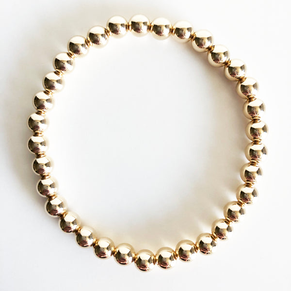 6mm Classic Beaded 14K Gold-Filled Bracelet