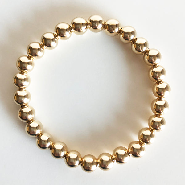 14k gold-filled 7mm beaded bracelet