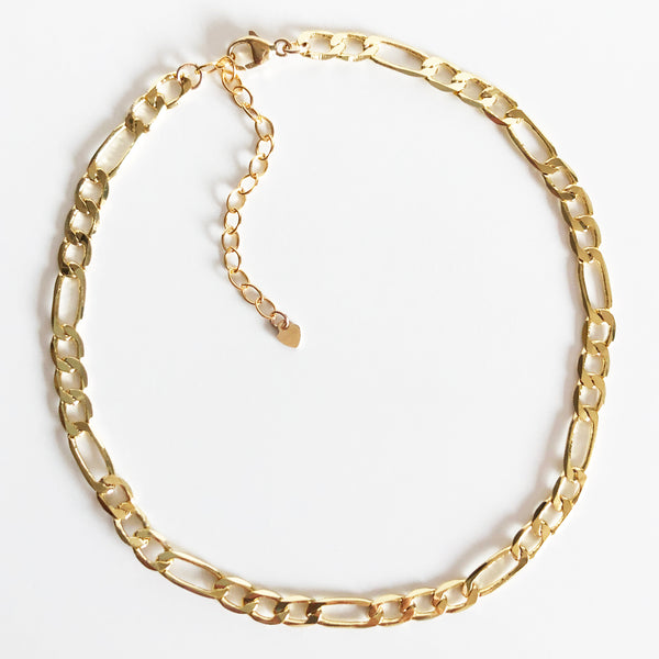 14K Gold-Filled Figaro Chain Anklet with Extender