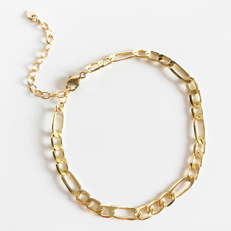 14K Gold-Filled Figaro Chain Bracelet with Extender