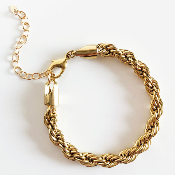 14K Gold-Filled Thick Rope Chain Bracelet with Extender
