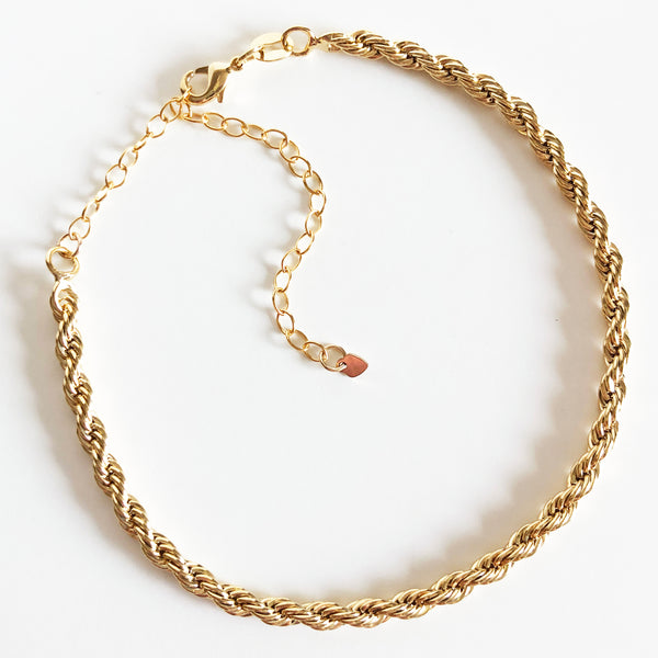 14K Gold-Filled Rope Chain Anklet with Extender