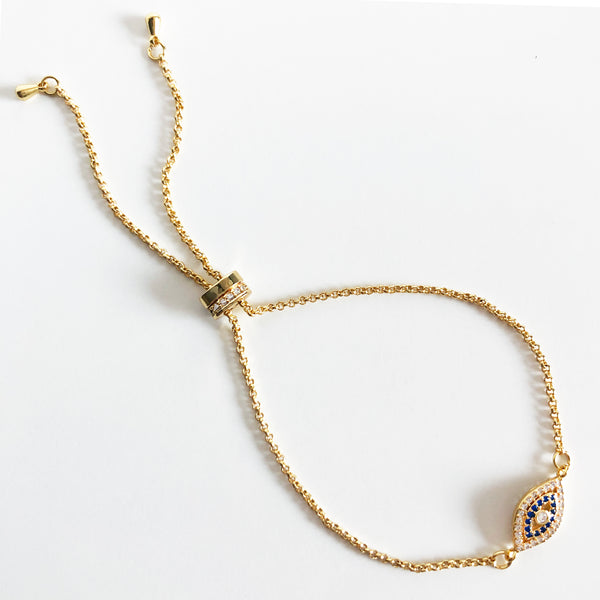 Gold Evil eye bracelet with adjustable bolo closure