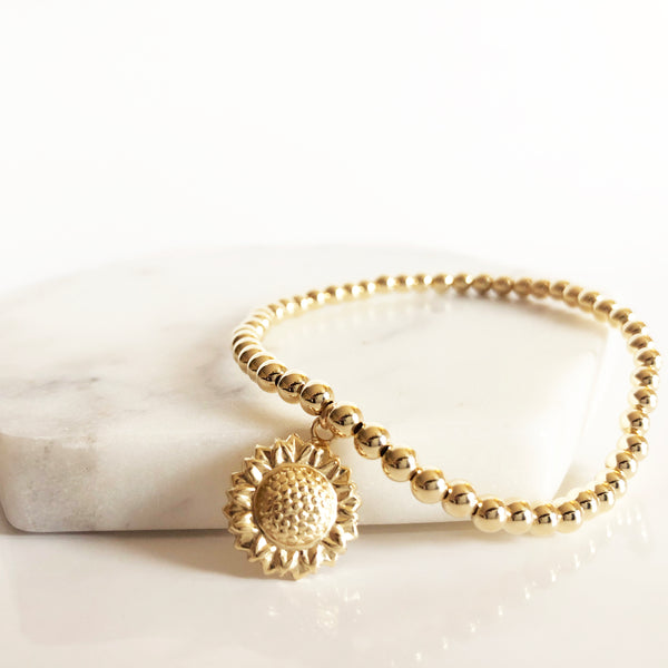 14K Gold-Filled sunflower charm beaded bracelet