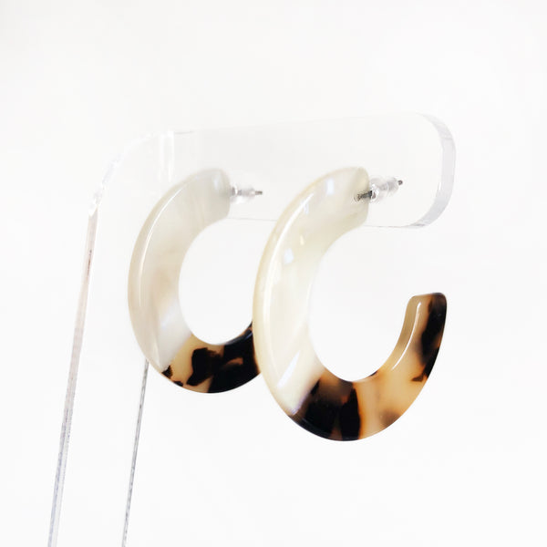 Tortoise shell half and half acetate hoop earrings