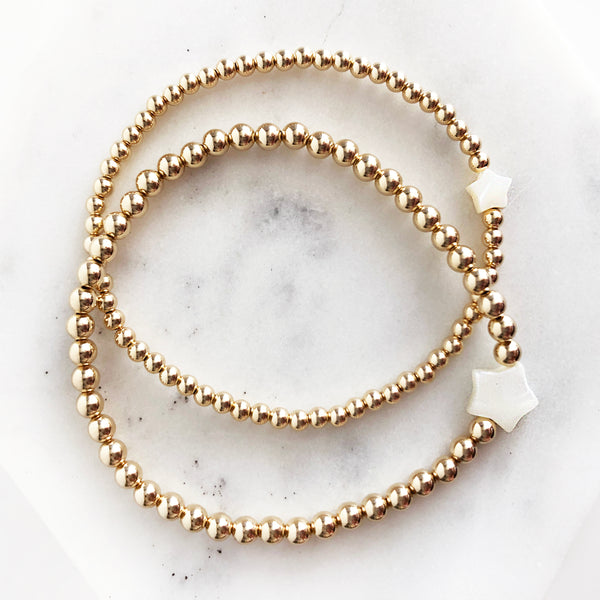14K Gold-Filled beaded bracelet set in 3mm and 4mm sizes with star seashell beads