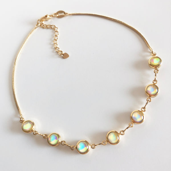 Gold and opaline anklet