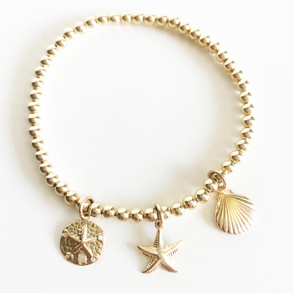 14K Gold-Filled beaded bracelet with sea themed charms