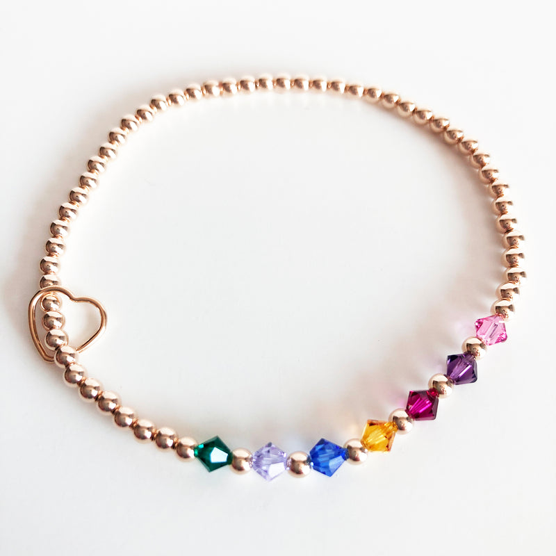 Rose Gold beaded Swarovski birthstone bracelets with heart charm