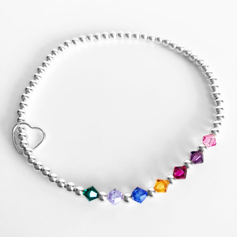 Silver beaded Swarovski birthstone bracelets with heart charm