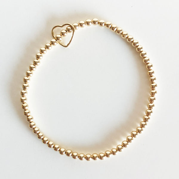 14k gold-filled 3mm beaded bracelet with heart charm