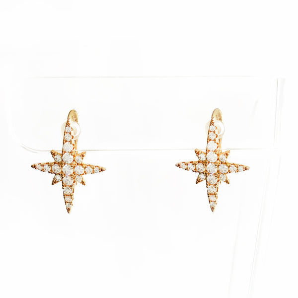 Gold multi-pointed star CZ huggie earrings