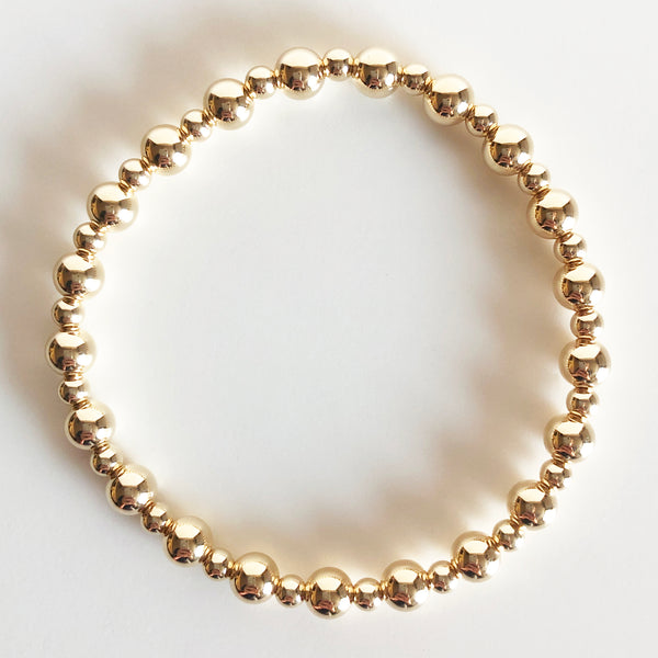 14k gold-filled beaded bracelet alternating 4mm and 6mm bead sizes