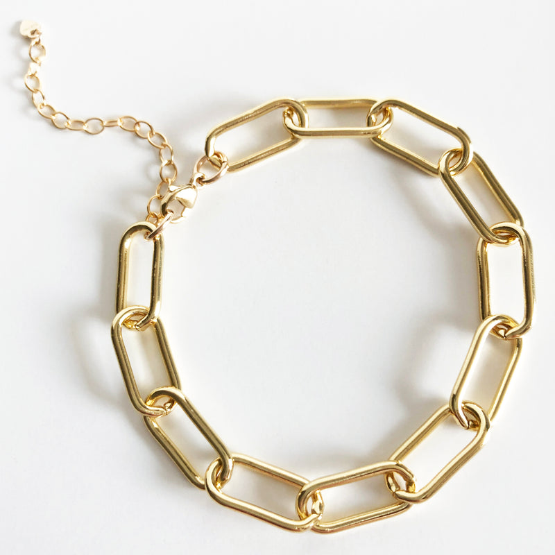Gold thick link chain bracelet with extender