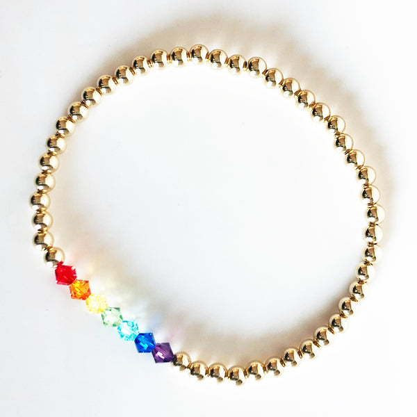 14K Gold-Filled beaded bracelet with Chakra colored Swarovski crystals