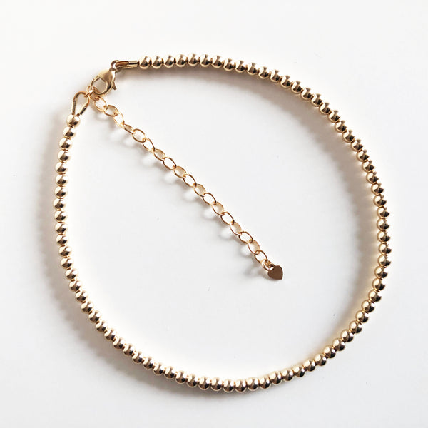 3mm Beaded 14K Gold-Filled Anklet with Extender