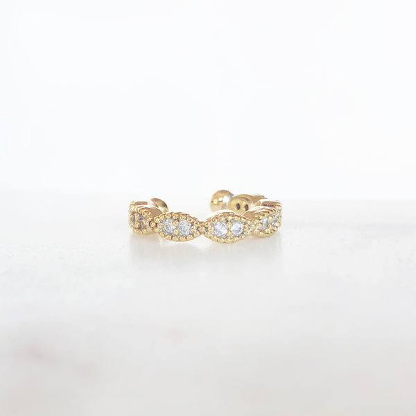 Gold scalloped ear cuff with CZ