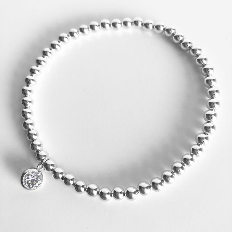 4mm Sterling Silver Beaded Bracelet with a round Swarovski crystal charm