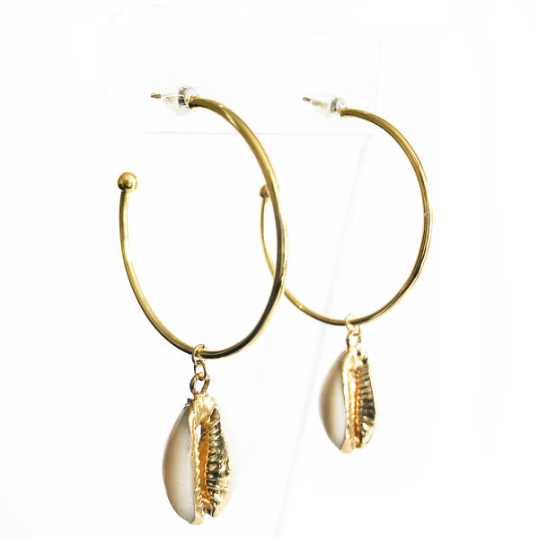 14K Gold-Filled hoop with seashell dangle