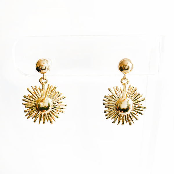 Dangling sunburst on 6mm ball post 14k gold-filled earrings