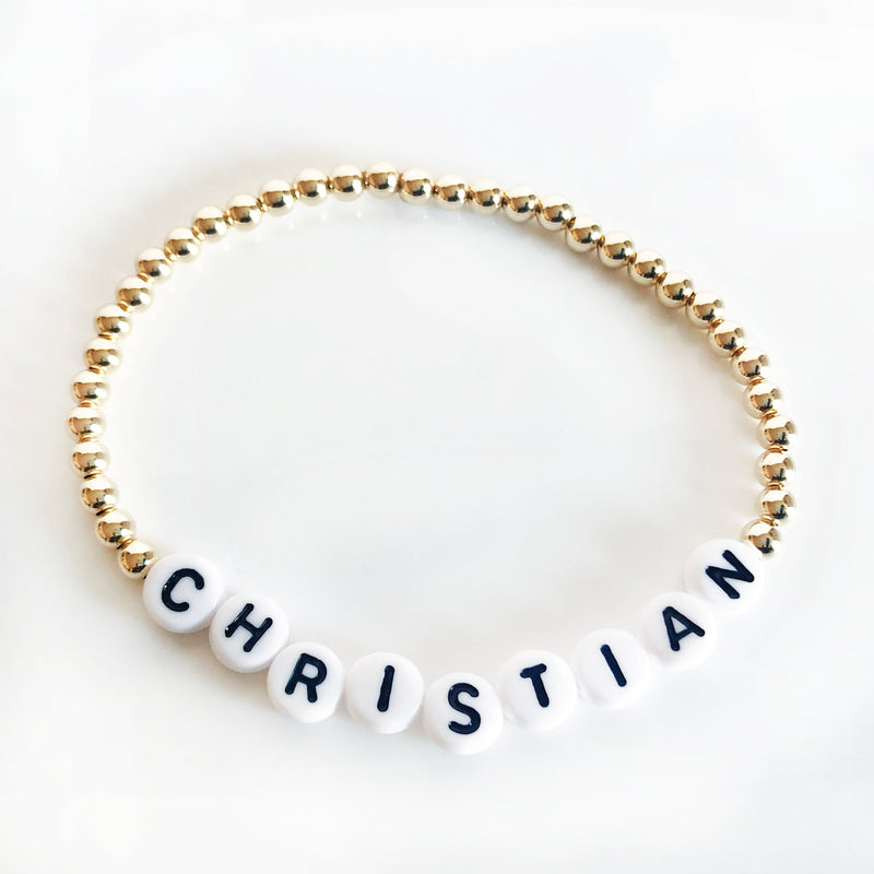 Gold Custom 4mm name bracelet white letters