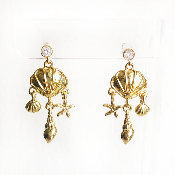 CZ stud post with dangling seashell charms 14k gold-filled earrings