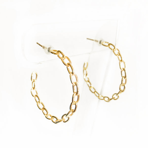 14k Gold-filled chain link hoops