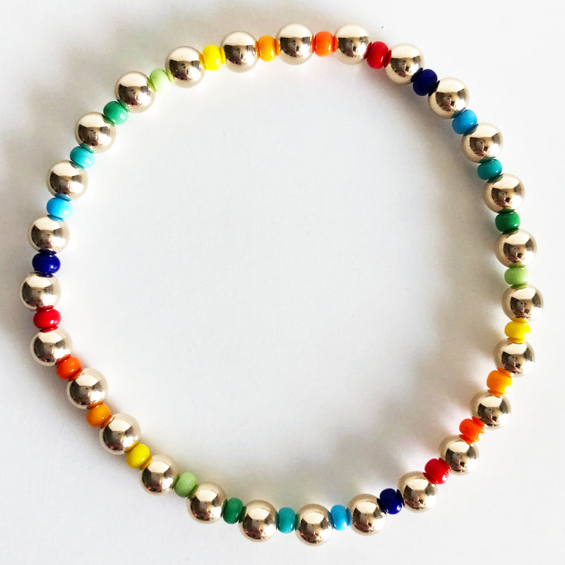 5mm 14k gold-filled and rainbow czech glass beaded bracelet