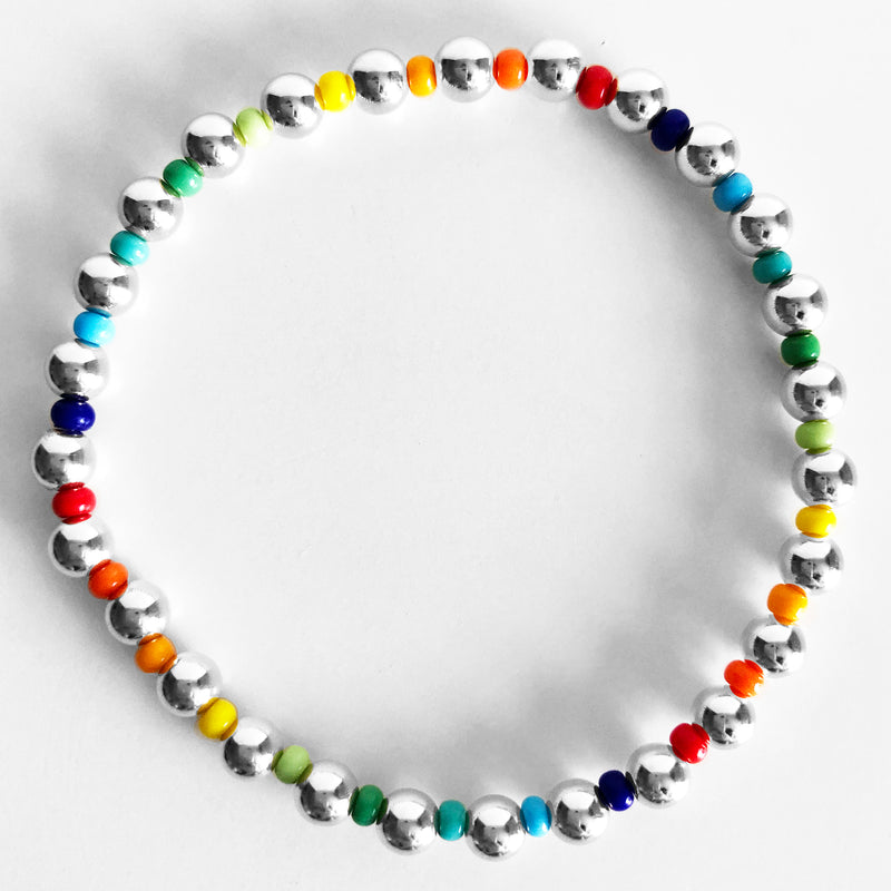 5mm sterling silver and rainbow czech glass beaded bracelet