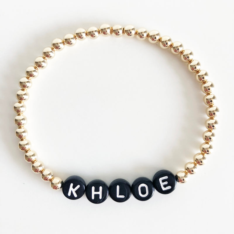 Gold Custom 4mm name bracelet black letters