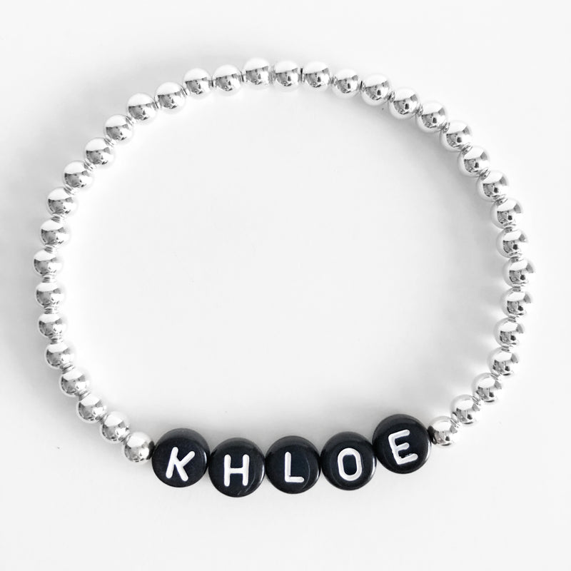 Sterling silver Custom 4mm name bracelet black letters