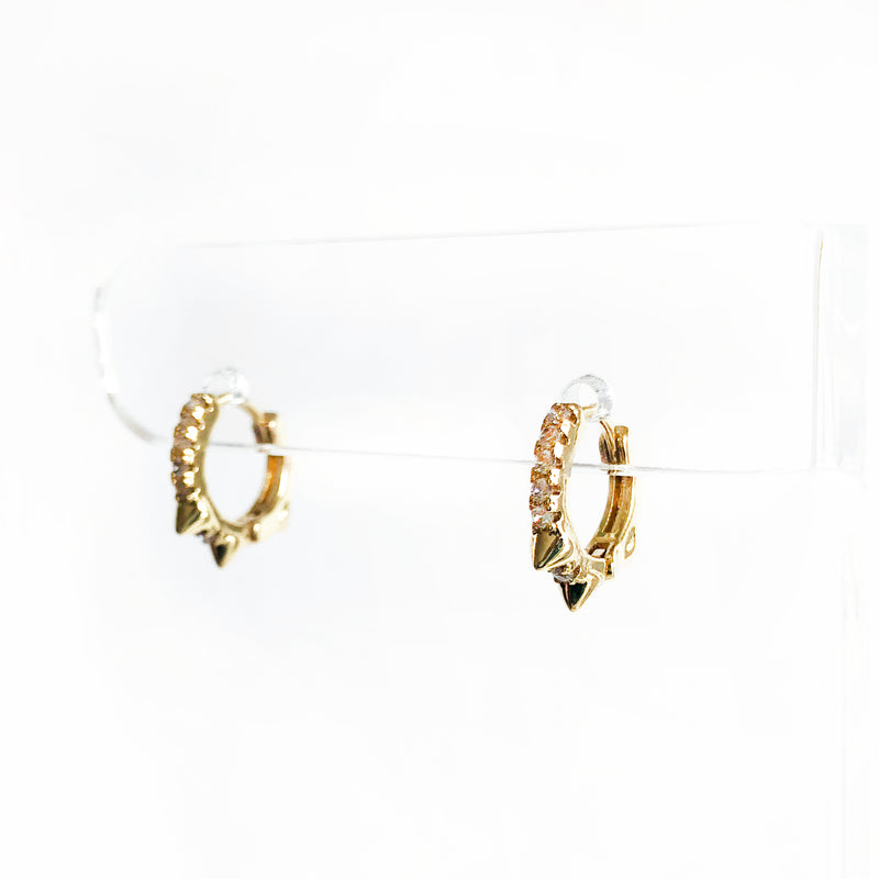 14k gold-filled spiked huggies with CZ earrings side view