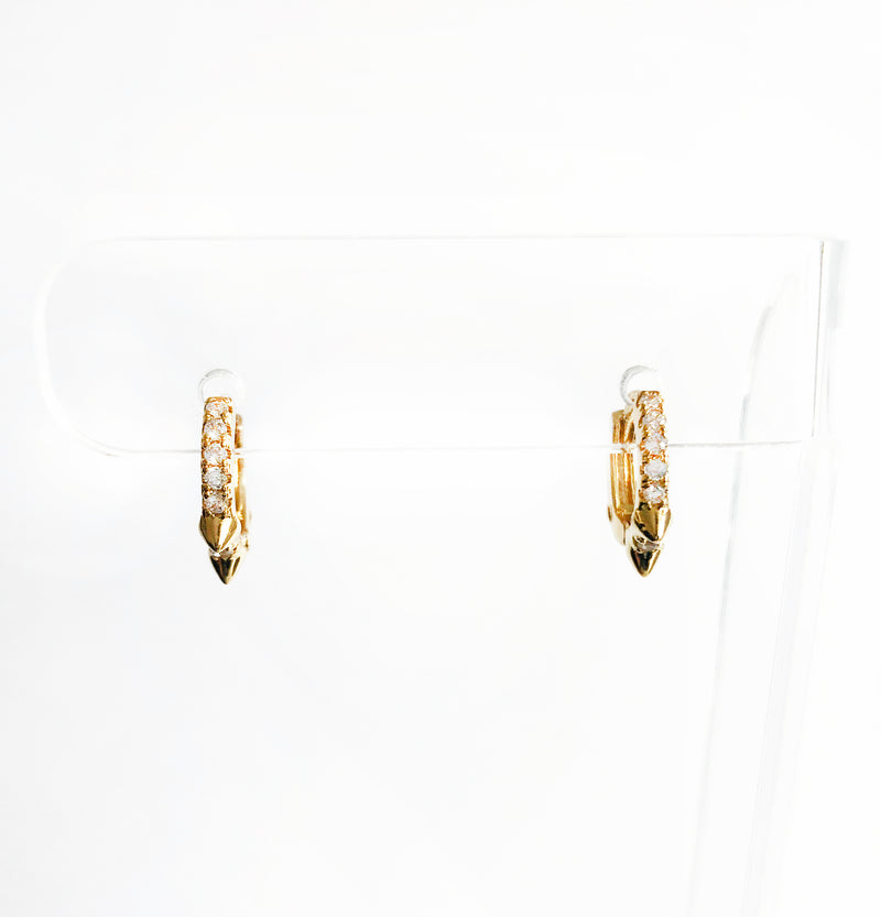 14k gold-filled spiked huggies with CZ earrings front view