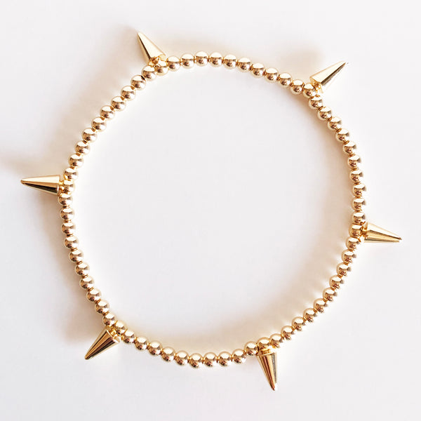 3mm gold beaded and spike charm bracelet