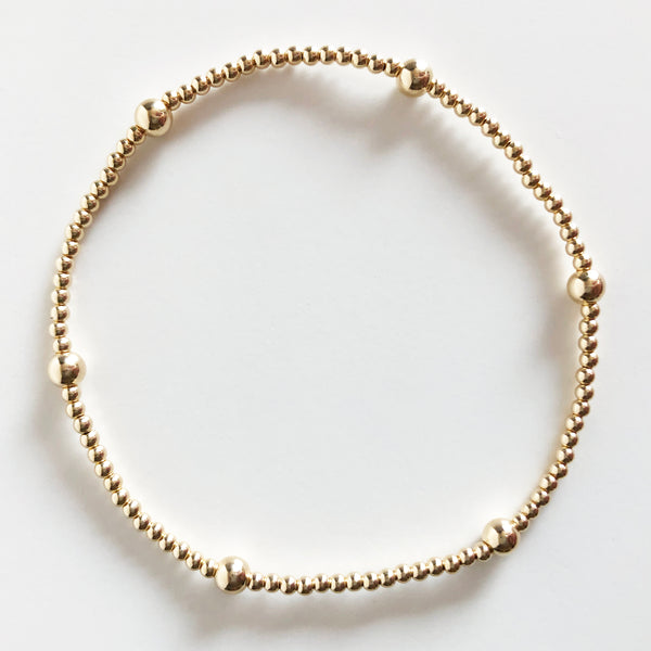 14k gold-filled 2mm beaded bracelet with alternating 4mm beads