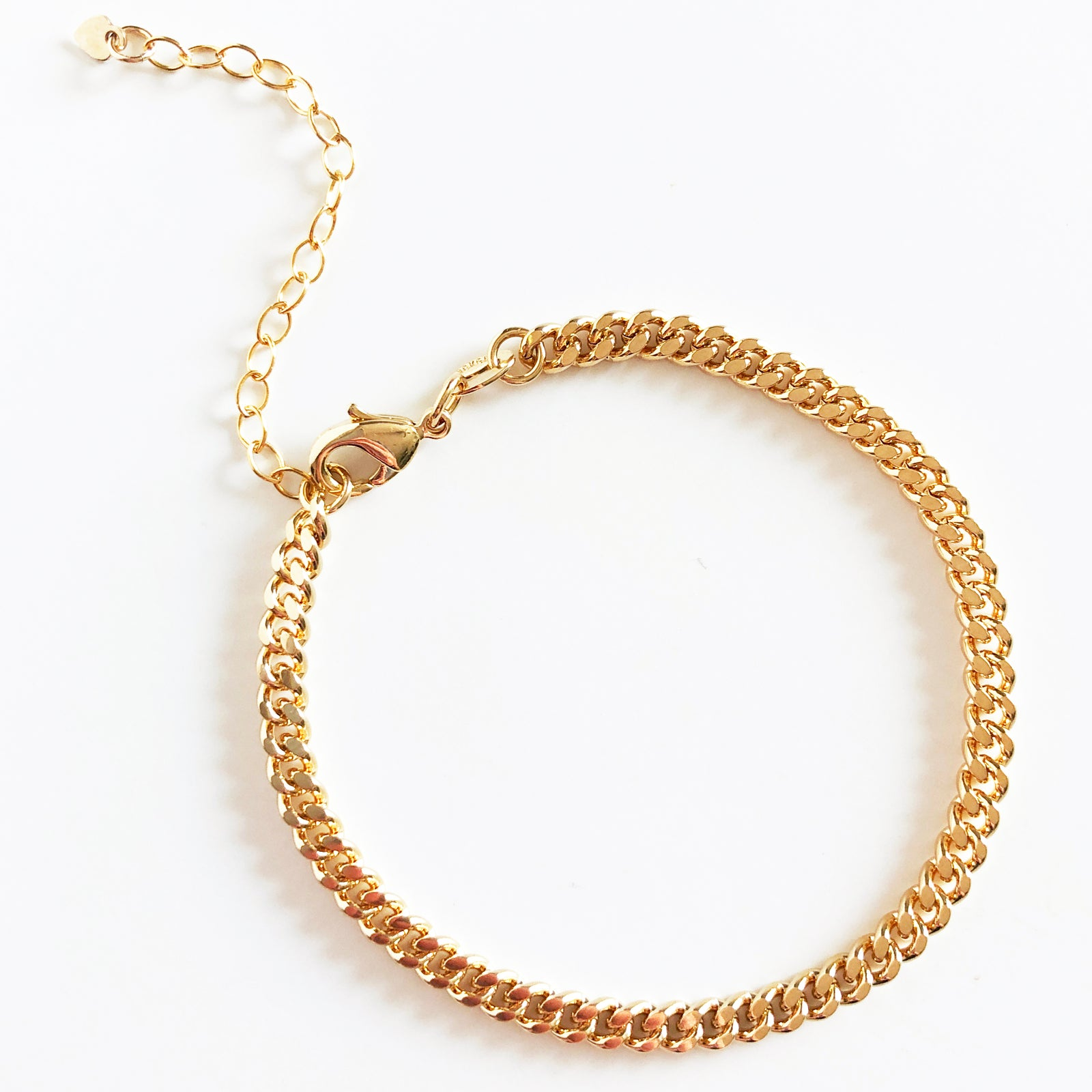 dainty gold curb link chain clasp bracelet