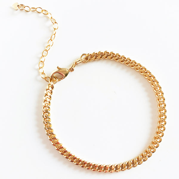 14k gold-filled dainty minimal classic curb chain bracelet with extender