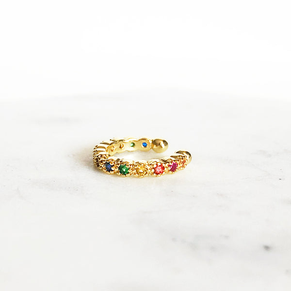 14k gold-filled rainbow CZ ear cuff