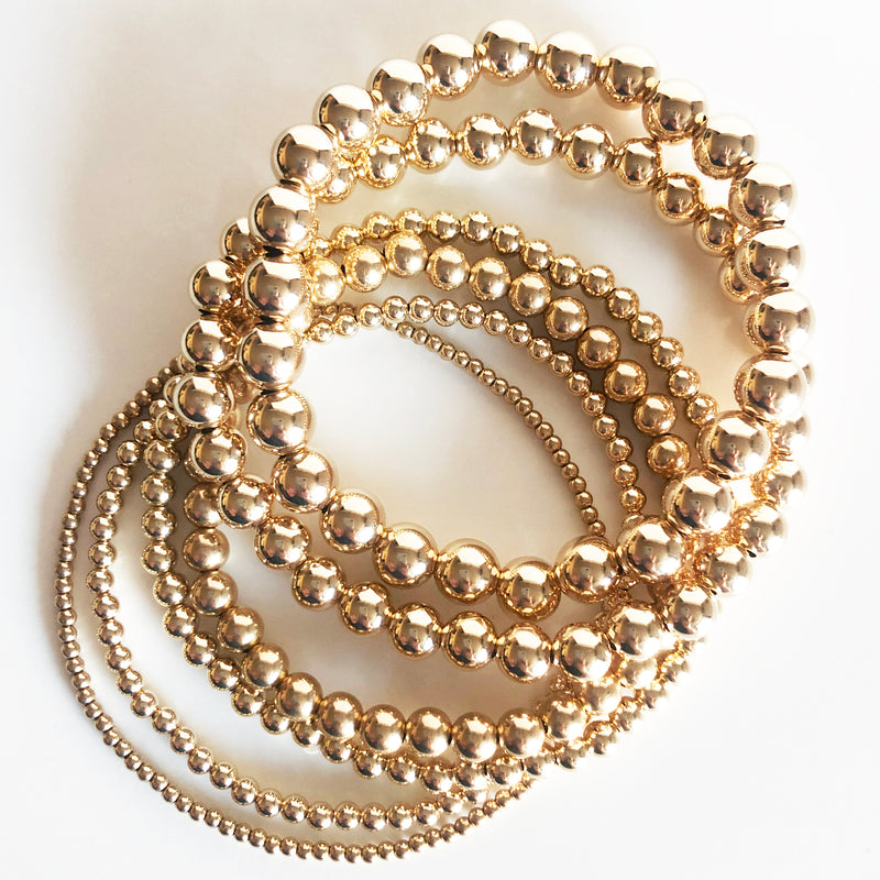14K gold-filled beaded bracelet stack of 6 in all sizes