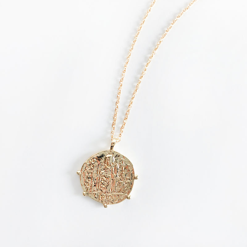 14k gold-filled classic pirate coin necklace with scalloped edges