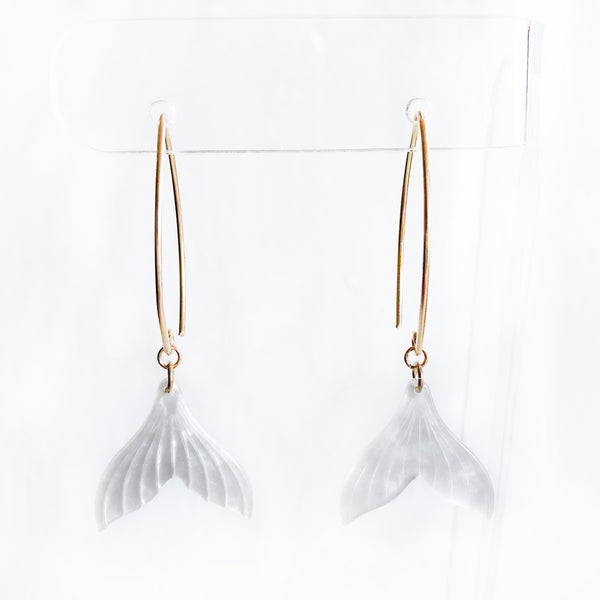 Dangle gold earrings with acetate acrylic white mermaid tail drop