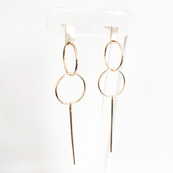 14k gold-filled minimal cocktail elegant earrings with a double hoop and stick drop