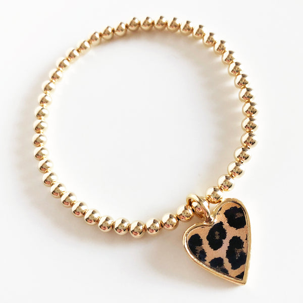 4mm gold beaded bracelet with gold and leopard print heart charm