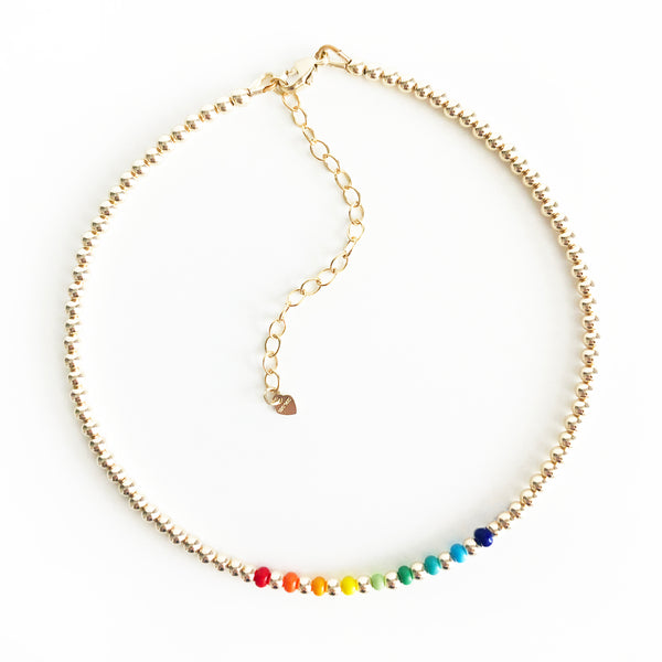 14k gold-filled 3mm beaded anklet with rainbow czech glass bead accents with extender