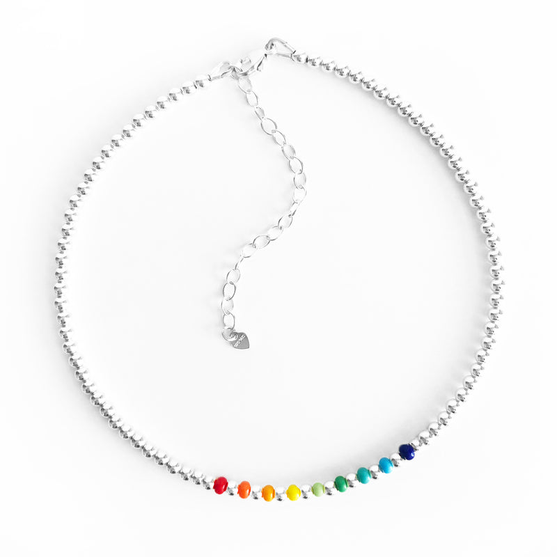 Sterling Silver 3mm beaded anklet with rainbow czech glass bead accents with extender