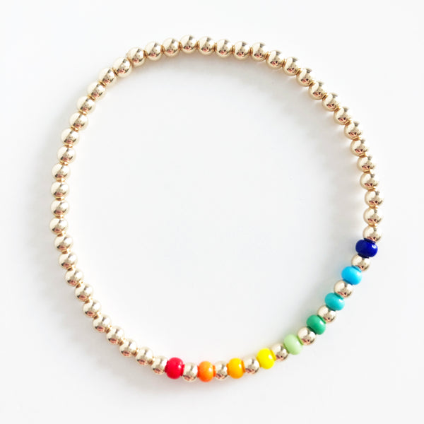 14k gold-filled 3mm beaded bracelet with rainbow czech glass bead accents