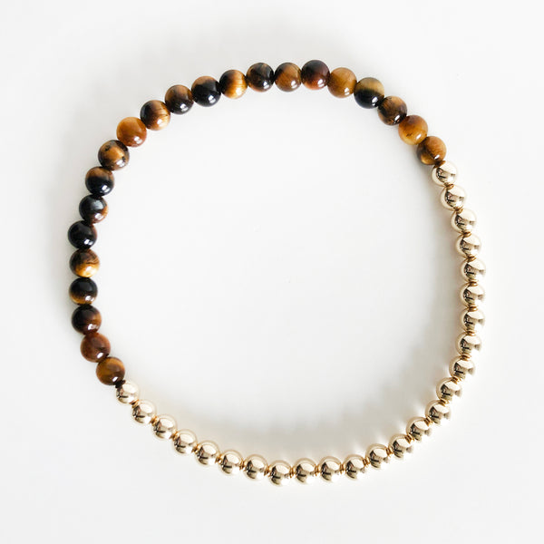 bracelet in half tiger's eye gemstone beads half 14k gold filled beads in 4mm bead size